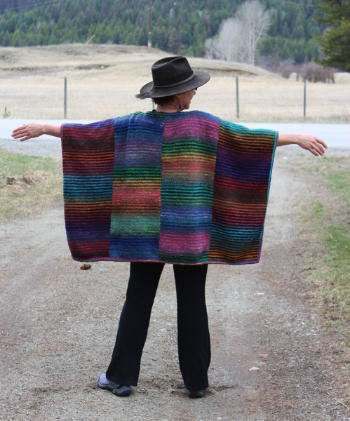 Poncho and hat back