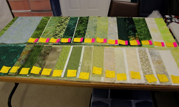 Fabrics laid out