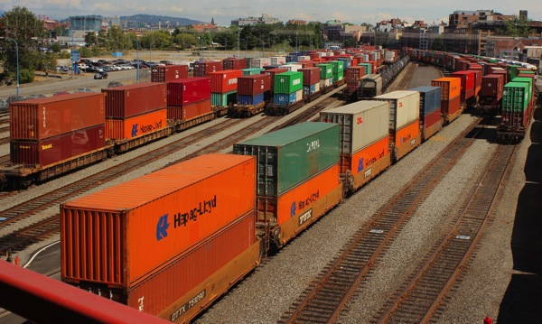 Containers on trains