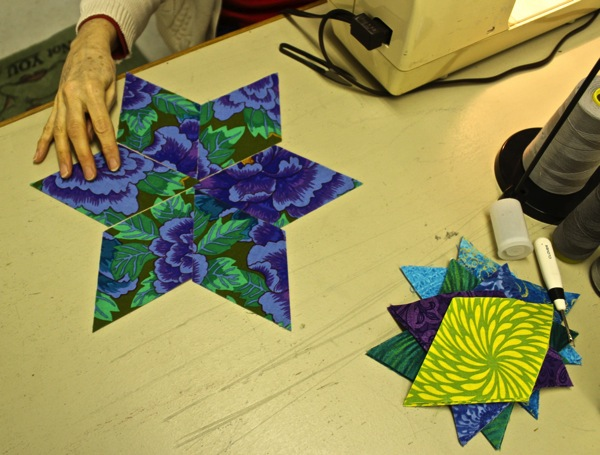 Floral star under construction